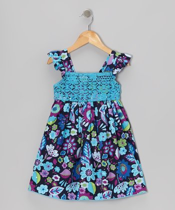 Blue Lace Floral Dress - Toddler & Girls