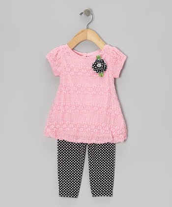 Pink Lace Tunic & Polka Dot Leggings - Infant