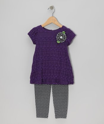 Purple Lace Tunic & Polka Dot Leggings - Infant