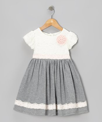 White & Gray Rosette Dress - Infant