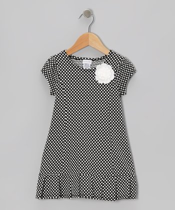 Black Polka Dot Daisy Dress - Girls' Plus