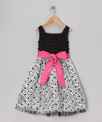 Black & Pink Bow Polka Dot Dress - Girls