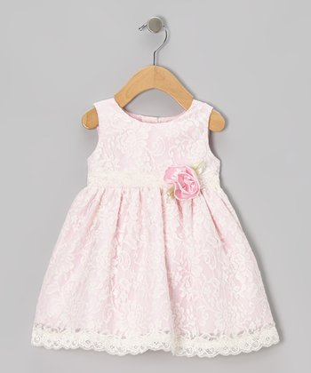 Pink Lace Rosette Dress & Diaper Cover - Infant