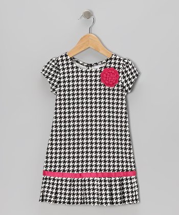 Black & White Houndstooth Drop-Waist Dress - Infant