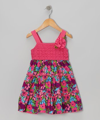Pink Crocheted Floral Dress - Infant, Toddler & Girls