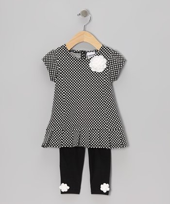 Black Rosette Polka Dot Tunic & Leggings - Infant