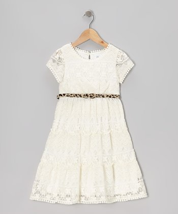 White Leopard Belted Lace Dress - Girls