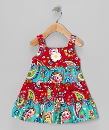 Red & Turquoise Paisley Dress & Diaper Cover - Infant