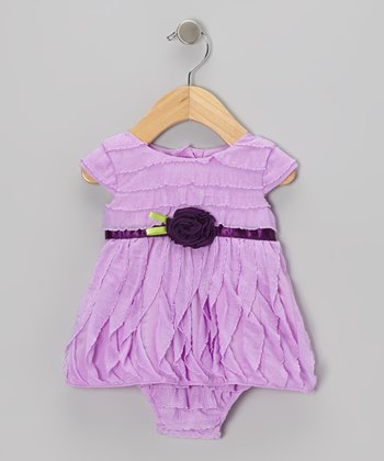Purple Rosette Ruffle Skirted Bodysuit - Infant