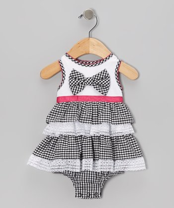 Black & White Bow Skirted Bodysuit - Infant