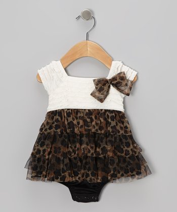 Cream Leopard Skirted Bodysuit - Infant