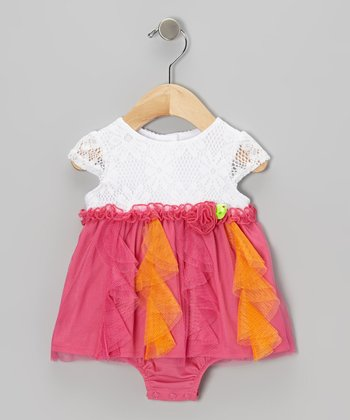 Pink & Orange Rosette Skirted Bodysuit - Infant