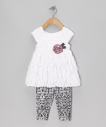 White Ruffle Wave Tunic & Damask Leggings - Infant