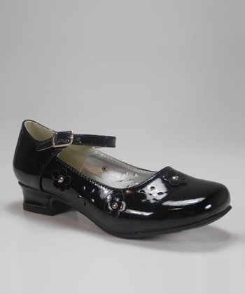 Black Patent Blossom Charm Mary Jane
