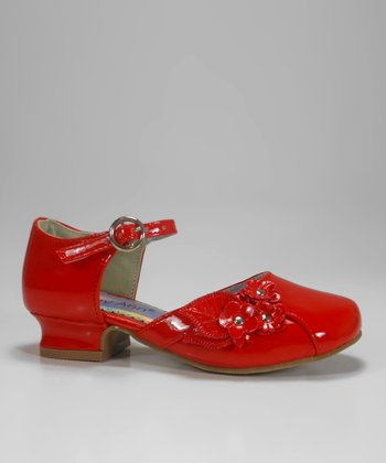Red Patent Daisy Charm Shoe