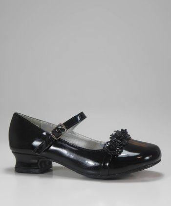 Black Patent Rosette Charm Mary Jane