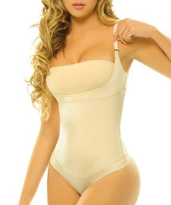 Nude Pompon Body Control Shaper Thong Bodysuit - Women