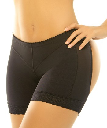 Black Loto Powernet Cutout Shaper Boyshorts - Women