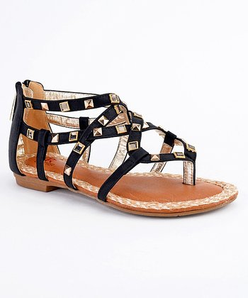 Black Paris-07 Studded Sandal