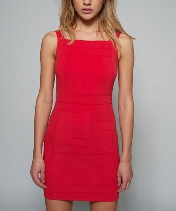 Strawberry Ponte Sheath Sleeveless Dress