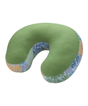 Green Floral Fleece Neck Pillow