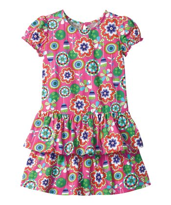 Pink Flowers & Flounces Dress - Infant, Toddler & Girls