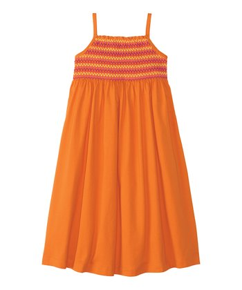 Tiger Orange Soft Smocked Sundress - Toddler & Girls