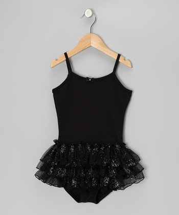 Black Glitter Skirted Leotard - Girls