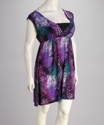 Purple Leopard Sleeveless Dress - Plus