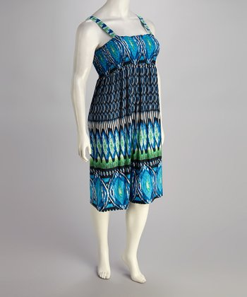 Blue Ikat Shirred Camisole Dress - Plus