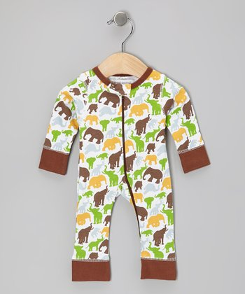 Brown Barrel of Elephants Organic Playsuit