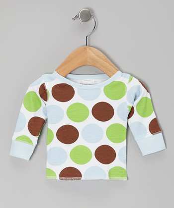 Baby Blue Safari Dot Organic Long-Sleeve Tee