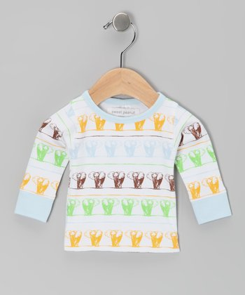 Baby Blue Elephants on Parade Organic Long-Sleeve Tee