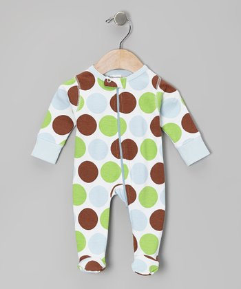 Baby Blue Safari Dot Organic Footie