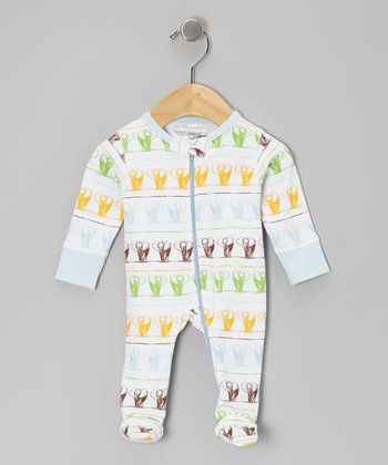 Baby Blue Elephants on Parade Organic Footie
