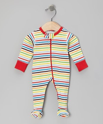 Red Adventure Stripe Organic Footie - Infant
