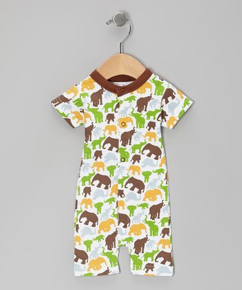 Brown Barrel of Elephants Organic Romper