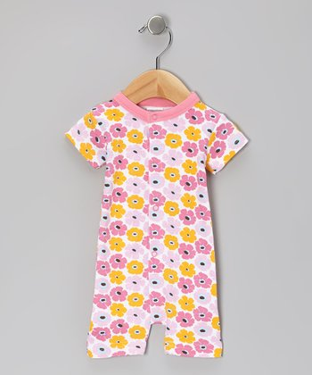 Pink Scattered Flowers Organic Romper