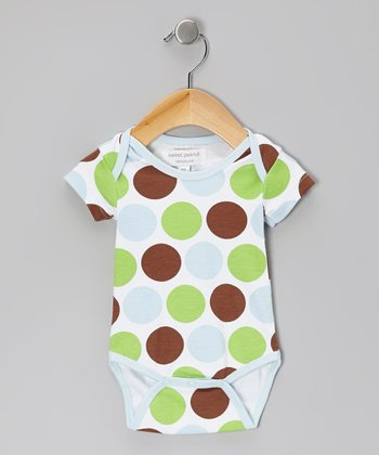 Baby Blue Safari Polka Dot Organic Bodysuit