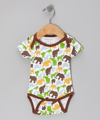 Brown Barrel of Elephants Organic Bodysuit