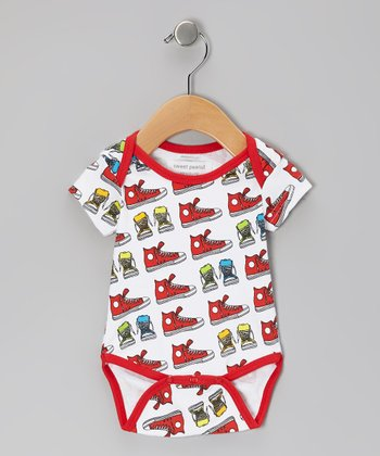 Red Walk a Mile Organic Bodysuit