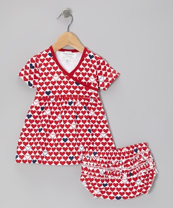Red L'Amour Organic Dress & Diaper Cover