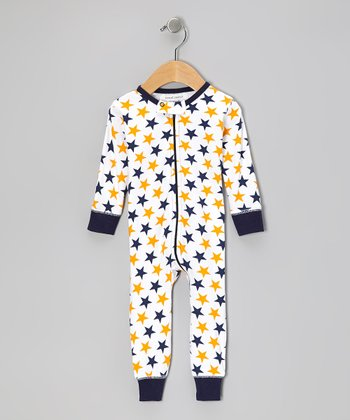 Blue & Orange Star Organic Playsuit - Infant