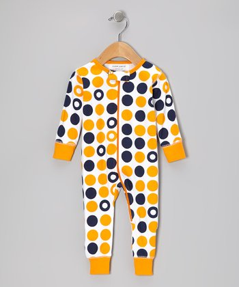 Navy & Orange Dot Organic Playsuit - Infant