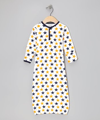Blue & Orange Star Organic Gown - Infant