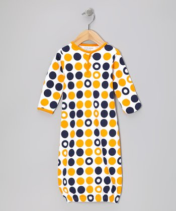 Navy & Orange Dot Organic Gown - Infant