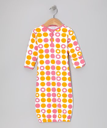 Pink & Orange Dot Organic Gown