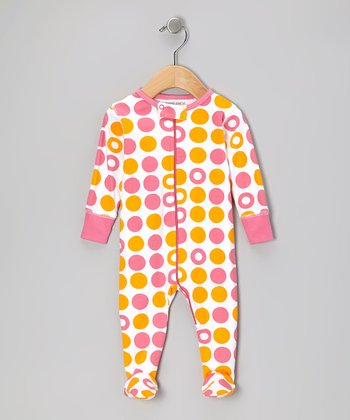 Pink & Orange Dot Organic Footie