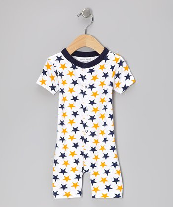 Blue & Orange Star Organic Romper - Infant
