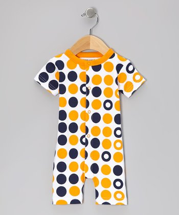 Navy & Orange Dot Organic Romper - Infant